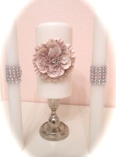 Romantic rose pale paper rosette unity candle set. $36.00, via Etsy.