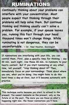 Ruminations (What to do) ~ Dr. Neal Houston, Sociologist (Mental Health & Life Wellness) www.facebook.com/TheLifeTherapyGroup