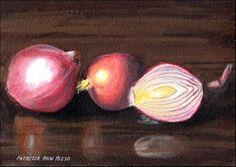 """""""Red Onions"""" - Original Fine Art for Sale - © Patricia Ann Rizzo  http://dailypaintworks.com/fineart/patricia-ann-rizzo/896b59f3-6e7c-411b-895d-6eb5cf163a73"""