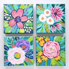 Just added these brand-new 55 minis to my shop. Daisies ranunculus roses oh Mini Toile, Guache, Mini Canvas Art, Small Paintings, Art Paintings, Abstract Flowers, Abstract Art, Art Floral, Art Plastique