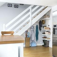Don't know what to do with that space under your stairs? How's this for an idea...#staircase #interiordesign #space #tidyhouse