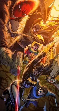 Batman, Batgirl, Robin, Nightwing & Red Hood