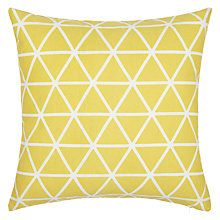 Buy Dandelion House by John Lewis Isometric Cushion from our Cushions range at John Lewis & Partners. Free Delivery on orders over Yellow Gray Room, Mustard Living Rooms, John Lewis Home, Contemporary Cushions, Yellow Cushions, Triangle Print, Cushions Online, New Living Room, Living Area