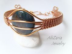 Indian Agate Stone Bracelet Wire Wrapped by AliZariaJewelry