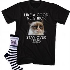 25.97$  Watch here - http://vifne.justgood.pw/vig/item.php?t=tl6xdzn43410 - (Set) Grumpy Cat I Had Fun Once Socks And Like A Good Neighbor T-Shirt MD 25.97$
