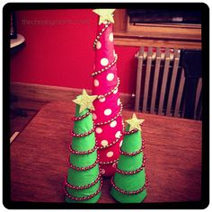 DIY Christmas Fabric Trees -- almost bought some at target last year, but not for $30 a piece!!!