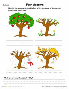 Worksheets: Learn the Four Seasons