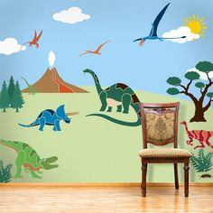 Dinosaur Wall Mural Stencil Kit for Boys or Baby by MyWallStencils