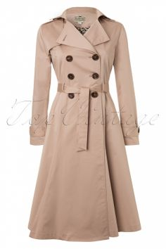 Collectif Clothing - Dietrich Swing Trench Coat in Beige