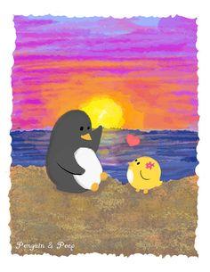 Beach Art Print Penguin & Peep by subarashii Animals Beautiful, Cute Animals, Penguin Love, Gifts For Pet Lovers, Beach Art, Peeps, Cool Art, Pikachu, Doodles