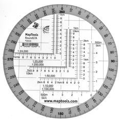Round Military Coordinate Scale and Protractor