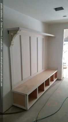 Ideas Shoe Storage Ideas Entryway Mudroom Cubbies For 2019 Mudroom Laundry Room, Laundry Room Design, Mudroom Cubbies, Mud Room Lockers, Porch To Mudroom, Mud Room In Garage, Mudroom Bench Plans, Garage Lockers, Garage Bench