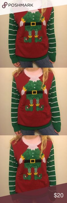 Elf ugly Christmas sweater size large soft Ugly Christmas sweater elf. Has pilling around the white collar. Soft sweater. Perfect for holiday season. 20 arm to arm and 27 shoulder to hem. ugly christmas sweater Sweaters Crew & Scoop Necks