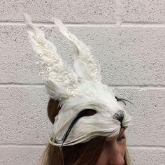 Luxury Lace Embellished White Rabbit Mask New Years Eve Hare