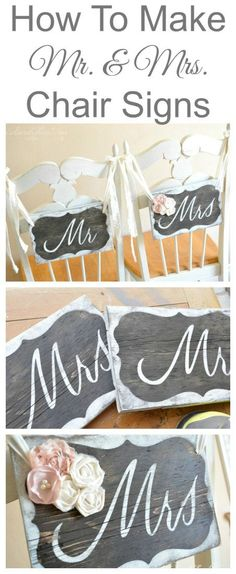 How To Make Mr. & Mrs. Chair Signs.  Follow this step by step tutorial from Rustic Wedding Chicks and find the supplies you need at Afloral.com.  Save a step with pre-cut wood signs and find a wide variety of high-quality silk flowers for your DIY chairbacks.