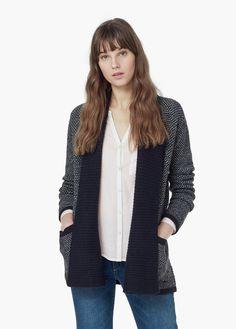 Cardigã lã bolsos - Cardigãs e camisolas de Mulher | MANGO Portugal