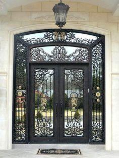 Custom Iron Entry Doors manufactured by Manhattan Iron Doors. Front Gate Design, Main Gate Design, Door Gate Design, Iron Front Door, Front Doors, Steel Doors And Windows, Double Doors Exterior, Home Modern, Wrought Iron Doors