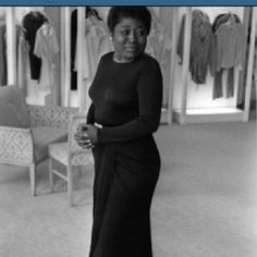 Actress Esther Rolle (1920-1998) best known for a playing Florida Evans on Good Times, is photographed trying on a dress at the Joseph Magnin store in Beverly Hills in 1974. Reposted from @vintageblackglamour.