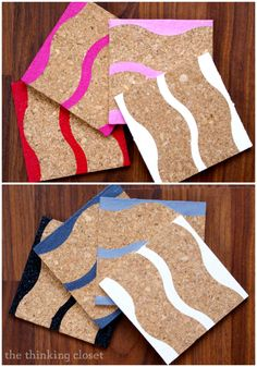 DIY Painted Cork Coasters - - Ombre waves.  Inexpensive gift idea that doesn't take all day to make!