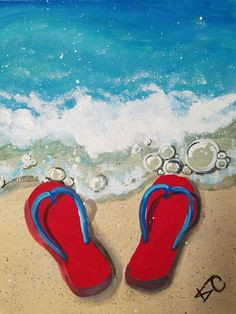 """Flip Flops on the Beach"", canvas painting class by Kim Cesaretti, instructor demo copy"