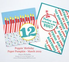 I love Dawn's creativity - this is a great way to use the March 2019 Paper Pumpkin kit! It's Your Birthday, Birthday Cards, Stampin Up Paper Pumpkin, Pumpkin Cards, Fun Projects, Christmas Crafts, Card Making, Paper Crafts, Pumpkin Ideas