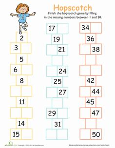 Challenge your kid to fill in the missing numbers from 1 to 50. This is an essential skill for understanding numbers beyond just counting them from memory.