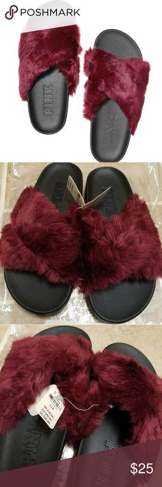 🆕VS PINK SM Faux Fur Crisscross  SLIDES BRAND NEW WITH TAGS @$40 Size Small  (5/6) Deep Ruby  Bundle and Save  Please chk out my other listings  Please Follow Thank you  Adding lots of new items! PINK Victoria's Secret Shoes