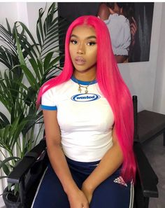 2020 Pink Hair Lace Frontal Wigs Brown Roots Pink Hair Half Pink Half Yellow Hair Pink Hair With Highlights Wig Hairstyles, Straight Hairstyles, Long Weave Hairstyles, Bangs Hairstyle, Black Hairstyle, Vintage Hairstyles, Hairstyle Ideas, Red Ombre Hair, Blonde Ombre