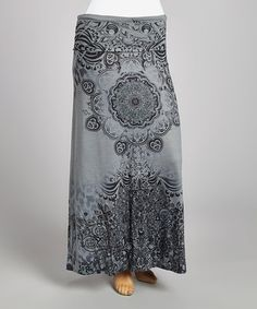 Another great find on #zulily! Gray & Black Abstract Maxi Skirt - Plus by Poliana Plus #zulilyfinds