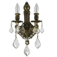 French Royal 2-light Antique Bronze Finish and Clear Crystal 12-inch Wide Medium Wall Sconce