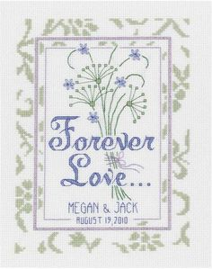 Janlynn Forever Love Wedding - Cross Stitch Kit. Forever Love Wedding Sampler can be your one gift to give for a special present.  With Forever Love on it and n