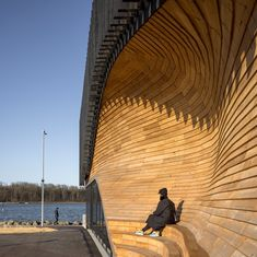 Klimatorium is a landmark climate centre in a Danish harbour Facade Architecture, Amazing Architecture, Cultural Architecture, Wooden Steps, Storm Surge, Natural Scenery, Boat Building, Denmark, Photos