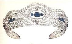 Sapphire Kokoshnik Chaumet Tiara of Alice Bourbon Parma, Duchess of Calabria. Part of full parure.