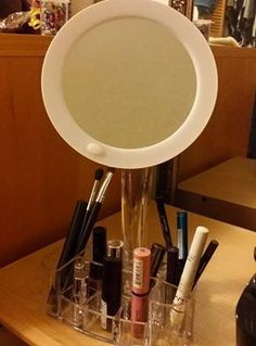 Just look at how much makeup our LED Magnified Makeup Mirror with Organizer can hold! There's 9 multi-sized compartments to hold your favorites