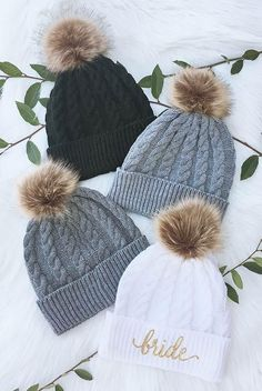 Bride and Bridesmaid Fluffy Pom Pom Beanies | Bachelorette Party Beanies