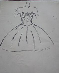 Modedesign, Kleid, mit Edding gezeichnet