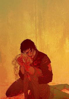bethyl week, day 2. prompt: red --- daryl & beth © the walking dead art © me