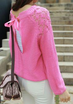 Cutout Shoulder V Back Sweater - Pink