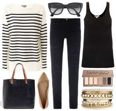 fall outfit | black, tan & stripes... I like the bracelet