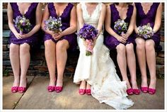 I like the idea of fantastic shoes that match the wedding colors but are a contrast to the dresses.  It's refreshing to have something other than black or silver.