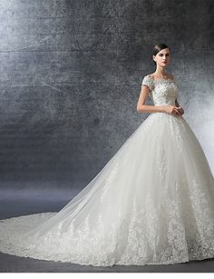 Ball Gown Off Shoulder Cathedral Train Satin / Lace Over Tulle Made-To-Measure Wedding Dresses with Crystal / Appliques / Ruffle by LAN TING Express / Illusion Sleeve