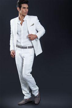 SUIT LINO BLANCO + camisa lino blanca + nubuck charcoal grey + correa  charcoal grey + bb8d562f51a3