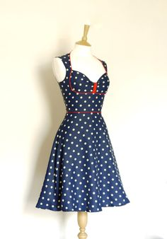 Navy Polka Dot Bustier Tea Dress- Made by Dig For Victory - FREE SHIPPING worldwide
