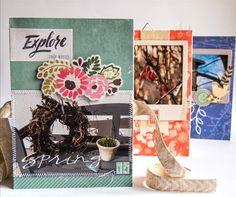 "Leporello Minialbum mit dem #dpAugustkit14 von Mary-Jane für www.danipeuss.de | Crate Paper ""Open Road"", Studio Calico Alphas, Prima Wood Veneer, Kesi'Art Metaliks Die Dandelions, Vellum"