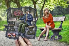 "Pencil Vs Camera - 68 by `BenHeine on deviantART. ""I took this photo in Anderlecht, Belgium, not so long ago... Jessica was sitting on this bench and looking a bit lonely. Now she is in better company with this mysterious man.""  Model: Jessica De Boeck"