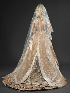 1870s wedding gown.