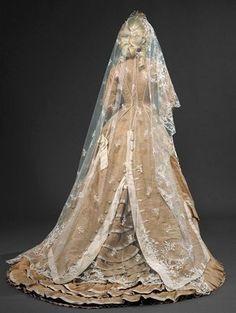 1870s wedding gown.
