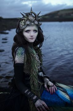 Katelizabeth Photography Page - Meet a Mermaid UK - mua and stylist is photog - headpiece Hysteria Machine - arms Lovechild Boudoir Gothic Burlesque Steampunk Fashion - scarf MetamorphDK - tail MerBellaStudios
