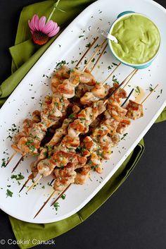 Spiced Chicken Skewers with Avocado Chile Coconut Sauce Recipe...This sauce would be good smeared on cardboard! | cookincanuck.com #healthy #entertaining