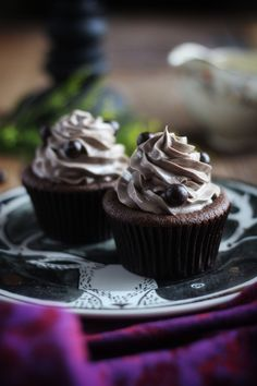 must try; worlds best rich, moist double chocolate cupcakes (made with a lot of butter, sour cream and brown sugar); topped with amazing rich oreo frech buttercream